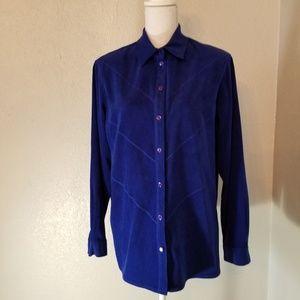 Allison Daley Electric Blue Suede Like Shirt SZ 12
